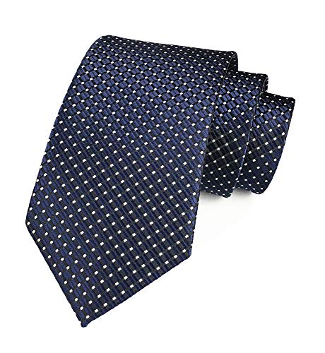 (Men's Classic Navy Blue Jacquard Woven Ties Check Pattern Easy-matching Wedding Formal)