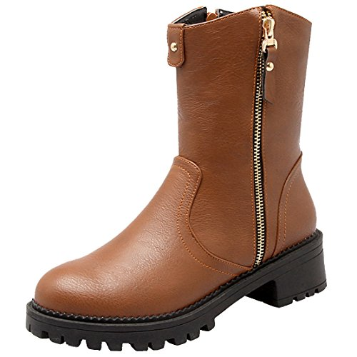 AIYOUMEI Low Block Heel Ankle Boots Platform Biker Boots For Women Chunky Heeled Punk Boots With Zip Wide Fit Sloch Boots Brown jCa3ULK3Fg