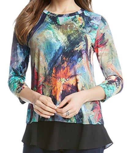 Karen Kane Women's Floral Canvas Contrast Hem Top Print Shirt