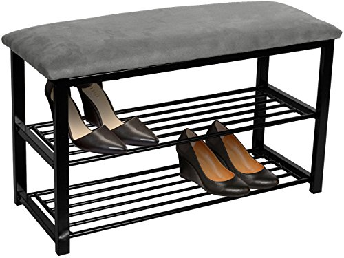 Sorbus Shoe Rack Bench - Shoes Racks Organizer - Perfect Bench Seat Storage for Hallway Entryway, Mudroom, Closet, Bedroom, etc (Gray) (Entryway With Mirror Storage)