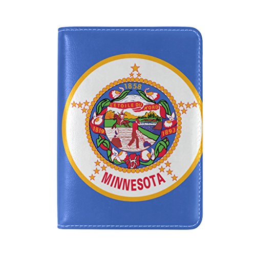 Missouri State Flag Leather Passport Cover - Holder - for Men & Women - Passport Case (Tan Canada Towels)