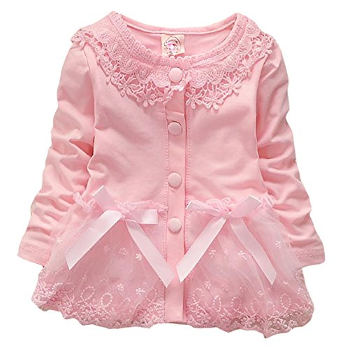 Baby Girls Spring Autumn Baby Lace Casual Coat Jackets Cardigan 12-18Months Pink