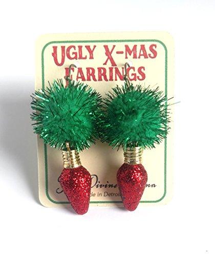 Ugly Christmas Earrings - Green Glitter Pom Poms