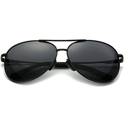 2f3159689b ... FEIDU Mens Polarized Aviator Sunglasses Metal Frame Unisex Sun Glasses  FD9001 (C-black  ...
