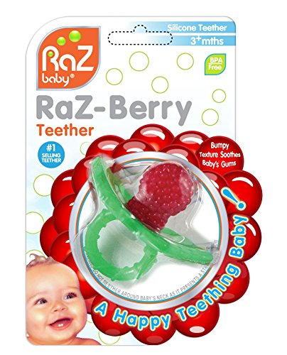 RaZbaby RaZ-Berry Silicone Teether/Multi-Texture Design/Hands Free Design/Red]()