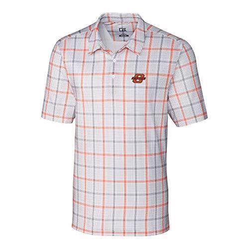 (Cutter & Buck NCAA Oklahoma State Cowboys Short Sleeve Gordon Plaid Print Polo, XX-Large, College Orange/Elemental Grey)
