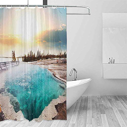 QIAOQIAOLO Light Shower Curtain Yellowstone Decor Hot Springs in Yellowstone National Park Sunshine Clouds Magical Earth Mother Nature Easy to Care W48 xL84 Turquoise