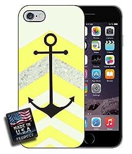 MMZ DIY PHONE CASEColorful Yellow Chevron Black Anchor iPhone 6 Hard Case