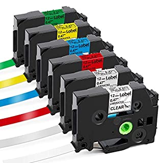 Label KINGDOM Compatible Labels Replacement for Brother P Touch Label Maker Tape TZe 12mm 0.47 Inch Laminated (Black on White/Orange/Red/Blue/Yellow/Green) for PTouch PT-D210 PT-H110 PT-D400, 6-Pack