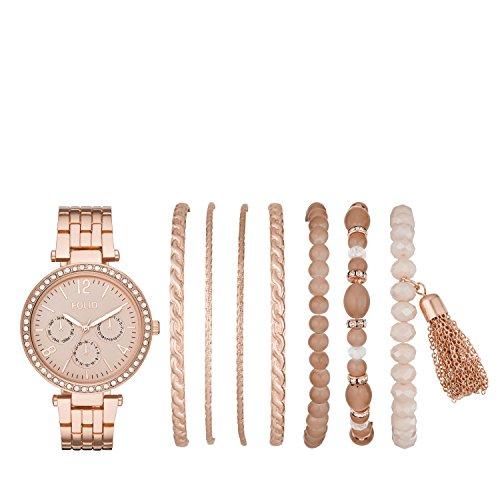 (Folio Women's Rose Gold-Tone Alloy Watch Gift Set)