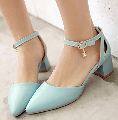 Easemax Femme Mignon Couleur Unie Chaussure Pointue Cocktail Escarpins Bleu XgvimZ4