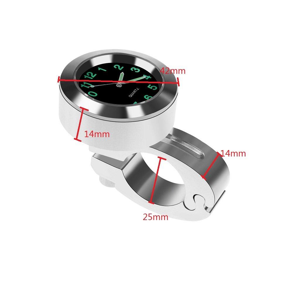 Egosy 22-25mm Motorrad Lenker Uhr Wasserdichtes Zifferblatt Lenkerhalterung Motorraduhr Lenker Uhr Mini wasserdichte