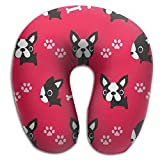 Boston Terrier Comfortable Brace Neck Pillow Spa Memory Foam U-SHAPE For Flying Man