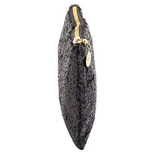 Pochette Sequins Nero Donna Bling Scintillante Clutch Paillettes Cerimonia Glitter Borsetta 76qZw0x