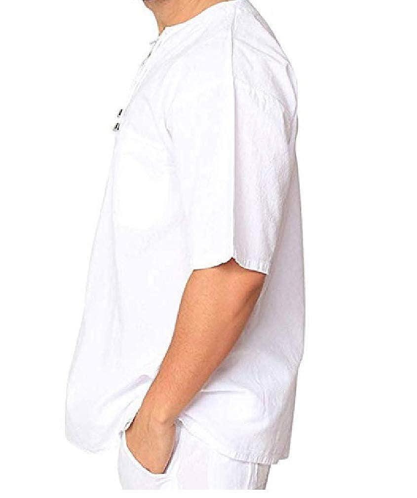 Men V-Neck Shirts Linen Cotton Short Sleeve Lace Up T-Shirts