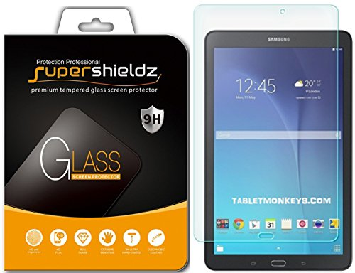 Samsung Galaxy Tab E 9.6 inch Tempered Glass Screen Protector, Supershieldz Anti-Scratch, Anti-Fingerprint, Bubble Free, Lifetime Replacement Warranty