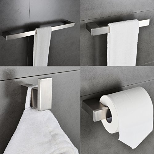 Stainless Steel 4-Piece Bathroom Hardware Accessory Set Rustproof Including Towel Bar Toilet Paper Holder Towel Ring Robe Hook Wall Mount Contemporary Square Style, Brushed Nickel MARMOLUX ACC (Square Set Paper Toilet Holder)