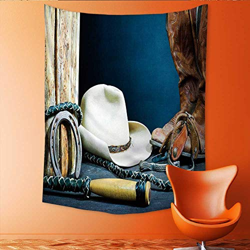 (Auraisehome Tapestry Wall Tapestry Cowboy Boots Horseshoe Spurs and hat on Wood Art Wall Decor 51W x 60L INCH)
