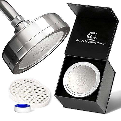 Luxury Filtered Shower Head (Metal) 2 Cartridges Vitamin C + 5 Shower Caps - Reduses Chlorine & Sediments - Consistent Water Pressure - Massage and SPA Effery Shower Head