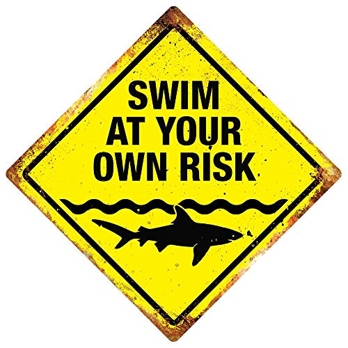 Che3423erth Metal Sign Swim at Your Own Risk Metal Wall Sign Plaque Artwork Shark Pool