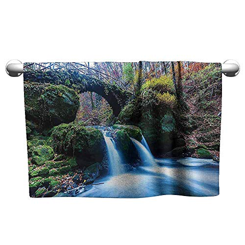(DUCKIL Modern Hand Towels Apartment Decor Collection Waterfall Flows Under an Ancient Stone Bridge Between Mossy Rocks in Luxembourg Image Interesting Bath Sheet 20 x 20 inch Green)