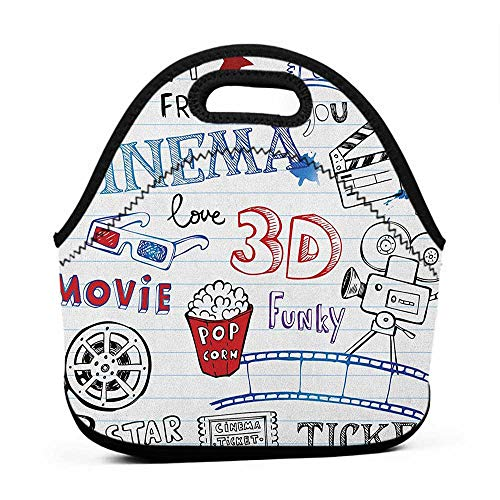 Neoprene Lunch Bag Movie Theater,Various Hand Drawn Icons on a Notebook Page Style Backdrop Hollywood Fun, Multicolor,bag for lunch and laptop