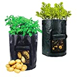 Potato Grow Bags, Kedious Plant Grow Bags Garden Planting Bag Vegetable Planter Potato Grow Bag with Handle, Access Flap for Harvesting Tomato Carrot & Onion (2 Packed)