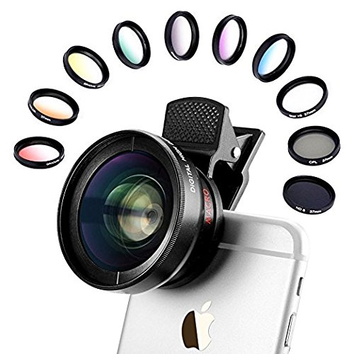 Phone Camera Lens Kit, 12 In 1 Professional Camera Lens 12.5x MACRO LENS 0.45x Wide Angle Lens, CPL Lens 37mm, Star Flter, 7 Color Graduated Filter, ND8 Fliter for iOS/Andriod Smartphone Camera Use (Mixer Professional Scratch)