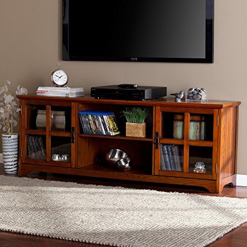 65 in. Media Stand in Mission Oak (Southern Enterprises Dvd Storage Media Storage)