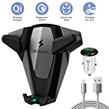 Wireless Car Charger, BOSLISA X-Man Wireless Charger Car Mount, Air Vent Phone Holder, QC3.0 Fast Charging Compatible for iPhoneX/8/8 Plus/Samsung Galaxy S9/8/7/Note 8 and More Qi Phones (Grey)