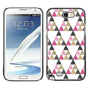Be Good Phone Accessory // Dura Cáscara cubierta Protectora Caso Carcasa Funda de Protección para Samsung Note 2 N7100 // Pyramid Shape Pattern Gold