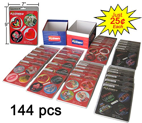 Flashers Fun Valentine Flashing Message Discs as seen on TV, 144 pcs BELOW WHOLESALE by Flashies