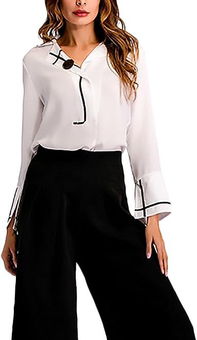 Blusas De Mujer Elegantes Primavera Camisa De Gasa Niñas Ropa Manga Larga Cuello Solapa Camisas Casual Joven Moda Empalme De Color Camiseta Blusa: Amazon.es: Ropa y accesorios