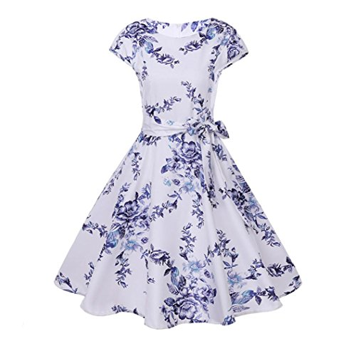 G&Kshop Women Hepburn 50's Floral Dress Boatneck Cap Sleeve Vintage Tea Dress with Belt (S, White)