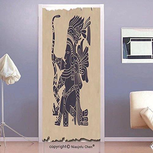 Native American Wallpaper - Niasjnfu Chen custom made 3d Door Wall Mural Wallpaper Tribal Mayan and Inca Primitive Art Motif with Native American Man in Old Paper Print Bedroom Living Room Dorm Beige Blue GreyFor Room Decor 30x7