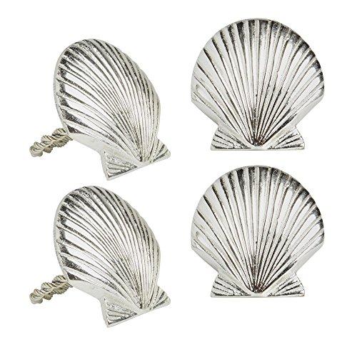Coastal Living Silver Seashell Metal Napkin Rings, Set of 4 by Coastal Living (Image #1)