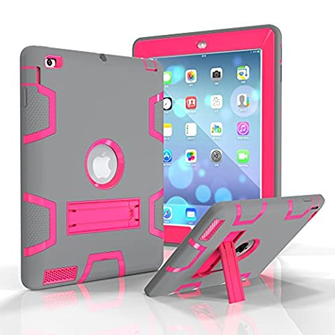 iPad 4 Case, iPad 3 Case, iPad 2 Case, Tina Shop Three Layer Kickstand Armor Defender Heavy Duty High Impact Resistant Shock-Absorption Rugged Hybrid Protective Case for Apple iPad 2/3/4 (Ipad Fourth Generation Case Speck)