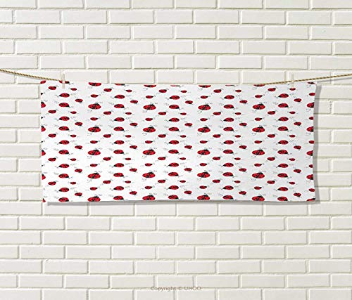 Anniutwo Ladybugs,Hand Towel,Ladybug Dotted Wings Swirls Curves Abstract Simple Pattern Animal,Quick-Dry Towels,Red Black White Size: W 20'' x L 20'' by Anniutwo