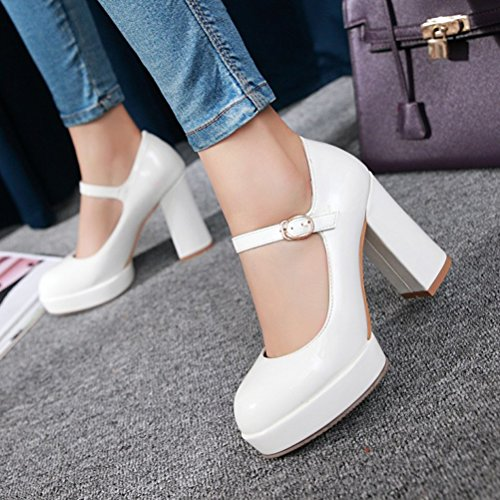 Block Shoes Platform Womens Strap Toe Mary High Heel Ankle Classic White Agodor Janes Closed Pumps qp1dxtqn