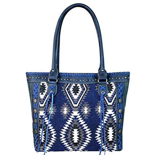 Montana West Western Aztec Tassels Denim Tote Bag Handbag Purse MW641-8317 (Denim Lined Tote)