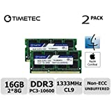 Timetec Hynix IC Apple 16GB Kit (2x8GB) DDR3 1333MHz PC3-10600 SODIMM Memory Upgrade For MacBook Pro 13-inch /15-inch /17-inch Early/Late 2011, iMac 21.5-inch Mid/Late 2011(16GB Kit (2x8GB))