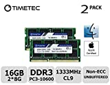 Timetec Hynix IC Apple 16GB Kit (2x8GB) DDR3 1333MHz PC3-10600 SODIMM Memory Upgrade For MacBook Pro 13-inch/15-inch/17-inch Early/Late 2011, iMac 21.5-inch Mid/Late 2011(16GB Kit (2x8GB))