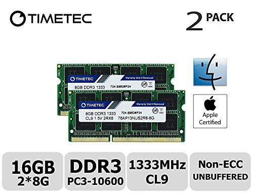 Timetec Hynix IC Apple 16GB Kit (2x8GB) DDR3 1333MHz PC3-10600 SODIMM Memory Upgrade For MacBook Pro 13-inch/15-inch/17-inch Early/Late 2011, iMac 21.5-inch Mid/Late 2011(16GB Kit (Macbook Ram Upgrade)