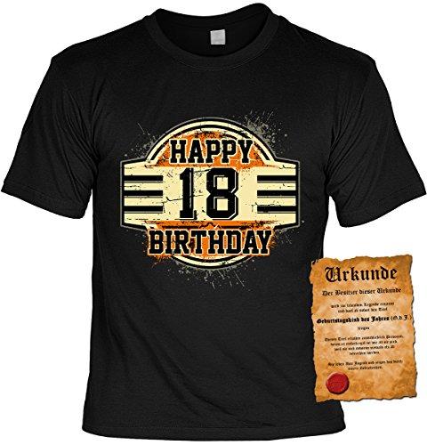 T-Shirt mit Urkunde - Happy Birthday 18 - Geschenk Set mit lustigem Spruch als ideales Geburtstagsgeschenk