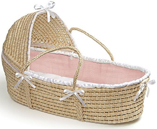 Hooded Moses Basket with Pink Waffle Bedding