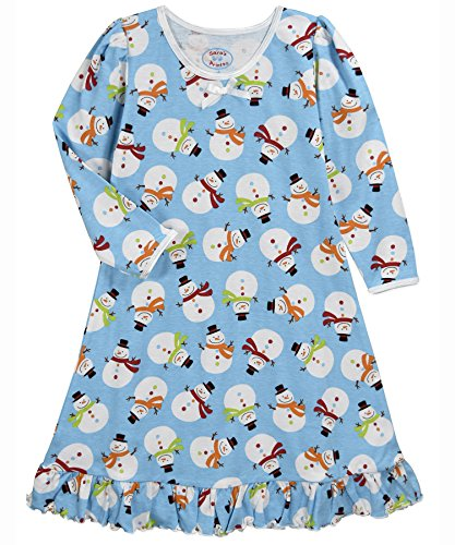 Sara's Prints Girls' Little Whirl and Twirl Long Sleeve Nightgown, Button Snowman, 2