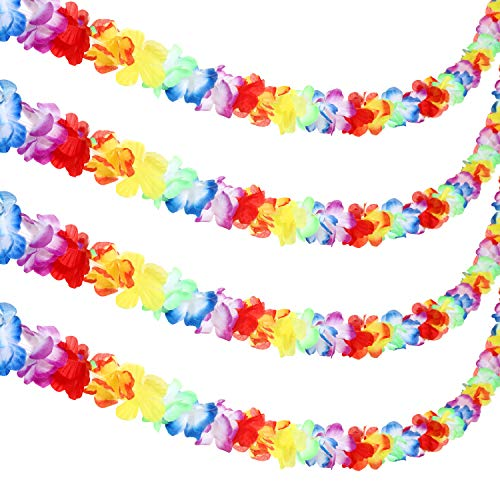 Jovitec Multicolor Tropical Flower Lei Garland Flower Leaves Banner for Hawaiian Luau Decorations (Style A, 4 Pack)
