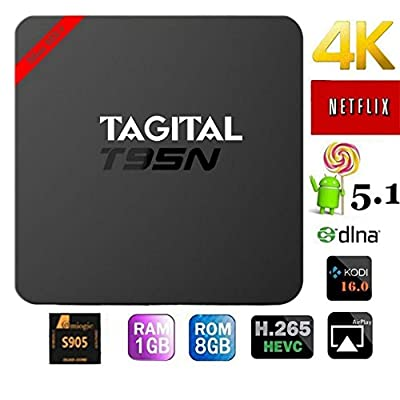 Tagital T95N Android 5.1 TV Box Quad Core 1GB 8GB Ultra HD XBMC Fully Loaded Amlogic S905 Streaming Media Player for TV