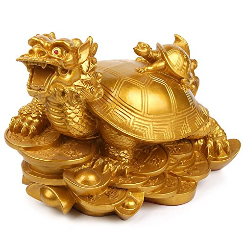 Wenmily Feng Shui Wealth Prosperity Dragon Turtle Statue + Set of 10 Lucky Charm Ancient Coins on Red String,Best Housewarming Congratulatory Gift,Feng Shui Decor