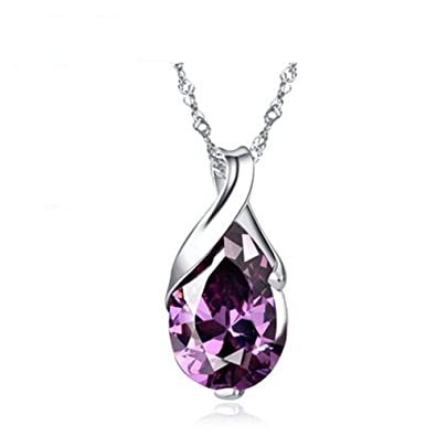S925 silver necklace platinum plated teardrop pendant jewelry s925 silver necklace platinum plated teardrop pendant jewelry amethyst pendant necklace 18quot mozeypictures Images